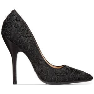 Midori Black Pointed Heels Floral Embroidered